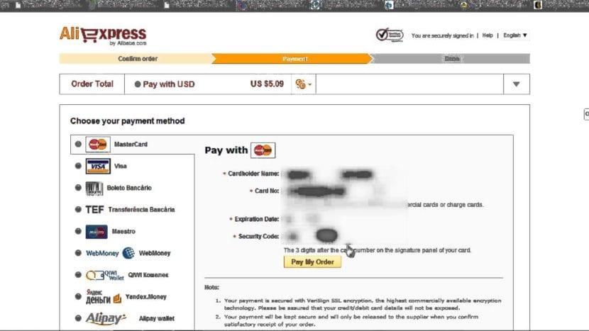 aliexpress formas de pago