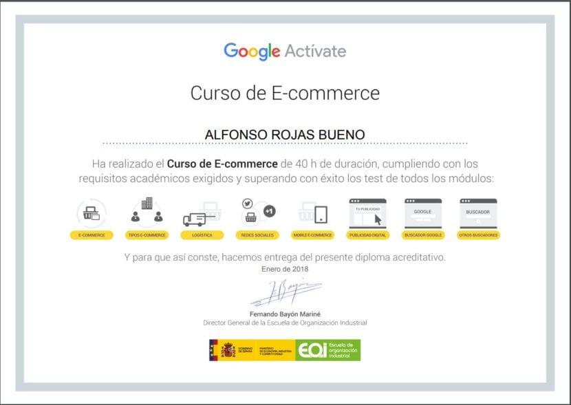 certificado de curso de ecommerce activate