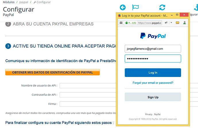 Configurar paypal en prestashop